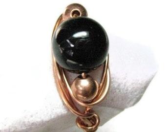 Black Onyx Wire Wrapped Ring, Gemstone Onyx ring