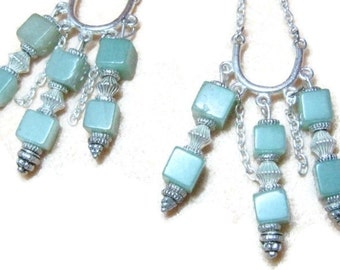 Aventurine and Silver Dangle Earrings, Gemstone Dangle Earrings, Green gemstone Earrings