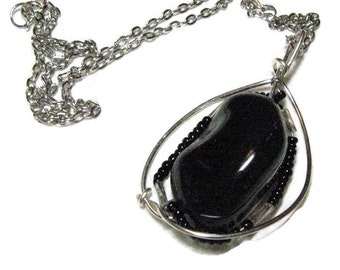 Black Onyx Wire Wrapped Pendant Necklace, Gemstone Wirewrapped Necklace