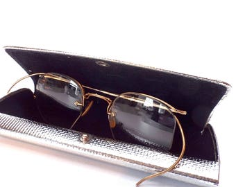 1ab515a0ab4 Vintage AO Eyeglasses 1 12 10kGF Etched Curved Temple Half Rimless Wire  Frame 1930s Eyeglasses Vintage wire Frame Eyeglasses