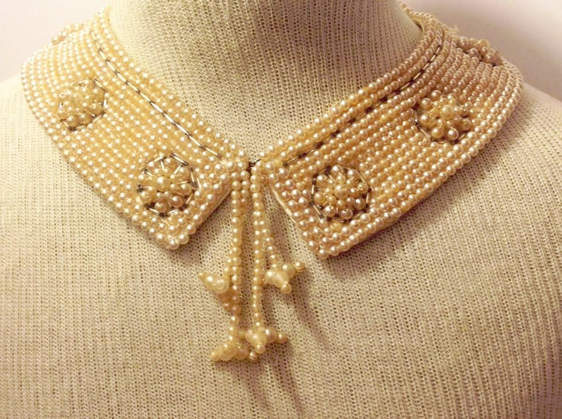 fed228f5fe17d vintage 1950s pearl collar / 50s faux pearl collar necklace / bib necklace  / champaign pearls / 50s pearl bib necklace / 50s pearl beaded