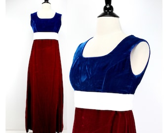 a4f3026459e Vintage 60s Velvet Maxi Dress Red White   Blue Patriotic 4th of July Empire  Waist 1960s clothing dresses Metal Zipper approx. Junior XS