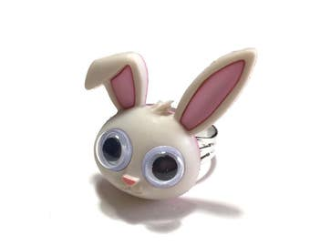 Bunny, Bunny Ring, Easter, Funky Ring, Weird, Gift, Under 5 dollars, Adjustable Ring, Spring Jewelry, Gift for her, Summer, Easter Jewelry