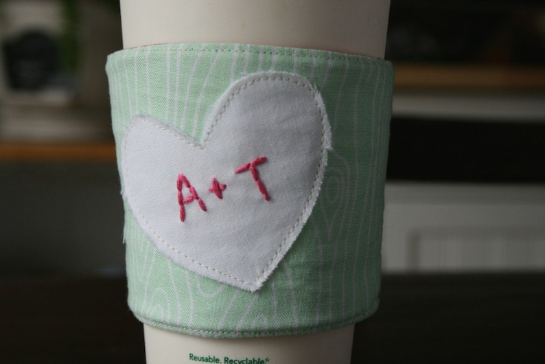 Personalized carved tree love cup cozy. image 0