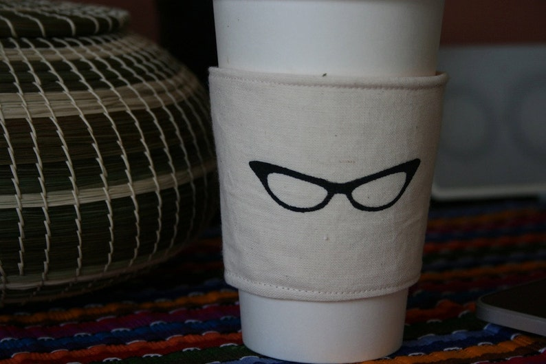 Cat eye glasses cup cozy image 0