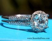 HALO Split shank Round Diamond Engagement Ring - 1.60 carats - 14K White Gold - Antique Style - Pave - weddings - brides - Bp003