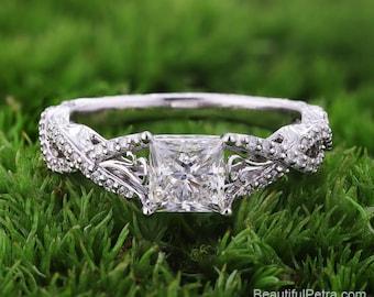 Custom Princess Cut - Diamond Engagement Ring 14K white gold - Twisted Double Shank - Peacock - floral - Heart - Beautiful Petra - Bp050