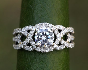 TWIST OF FATE - 14k White gold - Diamond Engagement Ring - Halo - Unique - Swirl - Pave - Bp024