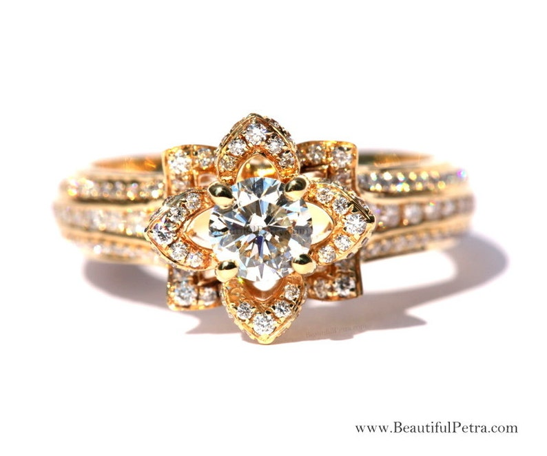UNIQUE Flower Rose Diamond Engagement or Right Hand Ring  image 0