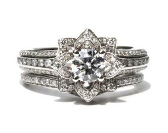 Wedding SET - UNIQUE Flower Rose Diamond Engagement Ring and Wedding band set - 2.55 carats - 14K - fL01-S