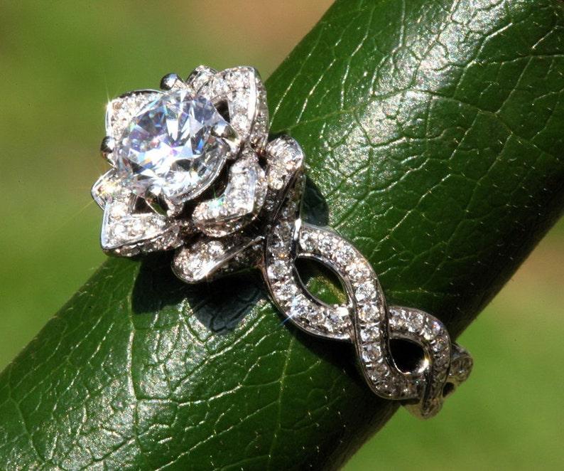 Ever Blooming Love Diamond Engagement Rose Lotus Flower Ring Etsy