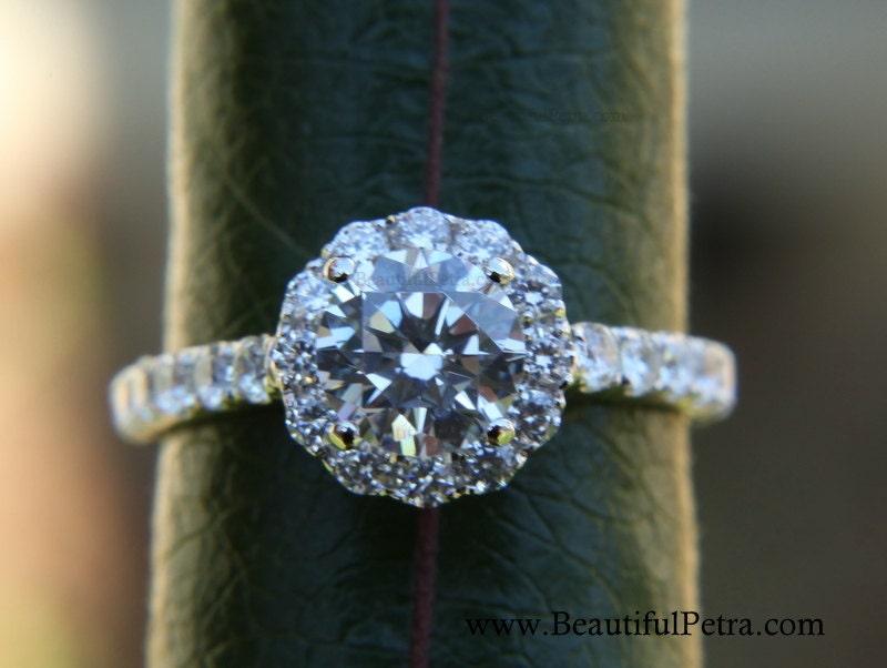K White Gold Diamond Engagement Ring Halo By Beautiful Petra