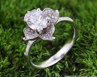 Lily Orchid Amaryllis Daffodil Iris  Canna Hibuscus  Flower ring -  Beautiful Petra Ring - Diamond engagement ring - Patent Pending - Fl17