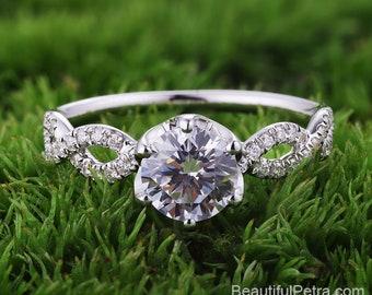 Twisted shank 6 prong Diamond Engagement Ring  -14K white rose gold platinum - Pave -  Beautiful Petra Rings - BP049