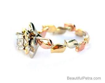 Tri Gold - Flower Diamond Rose Engagement Ring - 14K rose gold, 14k yellow gold and 14k white gold - Princess Cut - wedding - brides - fl11