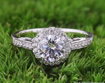 Halo Diamond Engagement Ring  -14K white rose gold platinum - Round - Halo - Pave -  Beautiful Petra Rings - BPH53