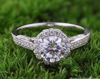 Halo Diamond Engagement Ring  -14K white rose gold platinum - Round - Halo - Pave -  Beautiful Petra Rings - BPH56