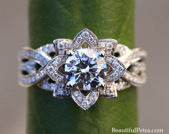 Intertwined - Flower Rose Lotus Diamond Engagement Ring - Intertwining Band - Fl10 - Beautiful Petra Ring -  Patent Pending