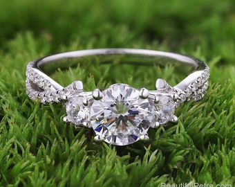 3 Stone Diamond engagement ring - Beautiful Petra rings - 14k 18k Platinum - BP053