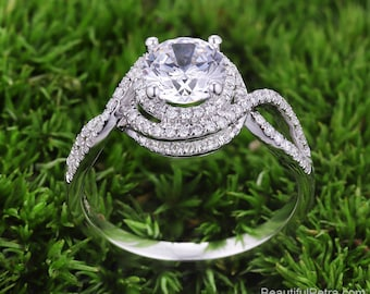 Multi Halo Twisted shank Diamond Engagement Ring  -14K white rose gold platinum - Pave -  Beautiful Petra Rings - BPH54