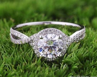 Halo Twisted shank Diamond Engagement Ring  -14K white rose gold platinum - Pave -  Beautiful Petra Rings - BP055