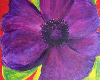 purple flower original painting 12 x 16