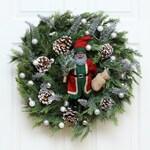 "White & Silver Black Santa Claus Christmas 26"" Wreath, Holiday Wreath, Unique Wreath, Black Santa Claus, Front Door Wreath"