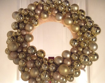 "14"" Golden Splendor Christmas Wreath, Christmas Wreath For Door, Small Door Wreath, Gold Christmas Wreath, Holiday Wreaths"