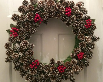 Frosted Pinecone w/ Cherries Winter Wreath, Holiday Christmas Wreath, Acorn Wreath, Christmas Front Door Wreath