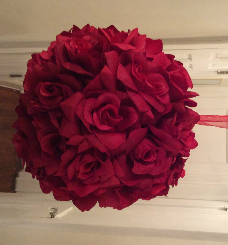 Red Roses Kissing Ball Roses Pomander Ball Red Wedding image 0
