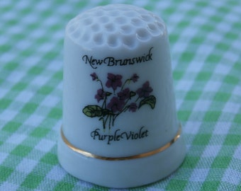 New Brunswick Vintage Thimble Purple Violet Canada Province Official Flower Wildflowers