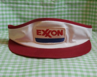 5204f0d216b Vintage 70s or 80s Exxon Visor Adjustable Hat Red White and Blue Gas and  Oil Advertising Petroleum Collectible