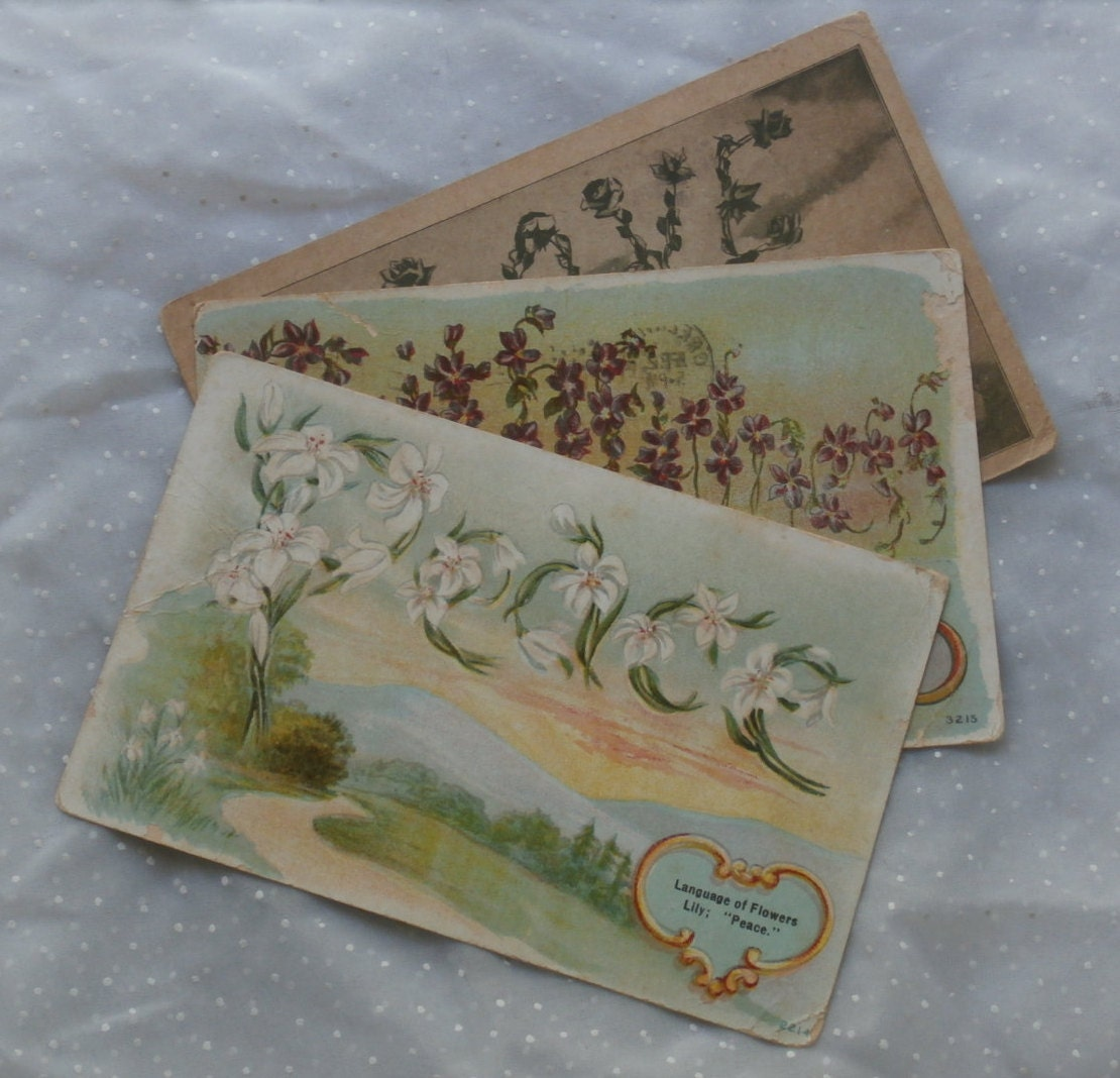 3 antique language of flowers post cards lily violet rose etsy zoom izmirmasajfo