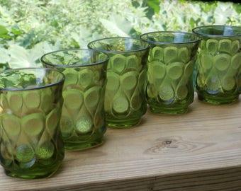 5 Juice Tumblers, Small Vintage Glasses Noritake Spotlight in Olive Green, Flat Tumbler Lot