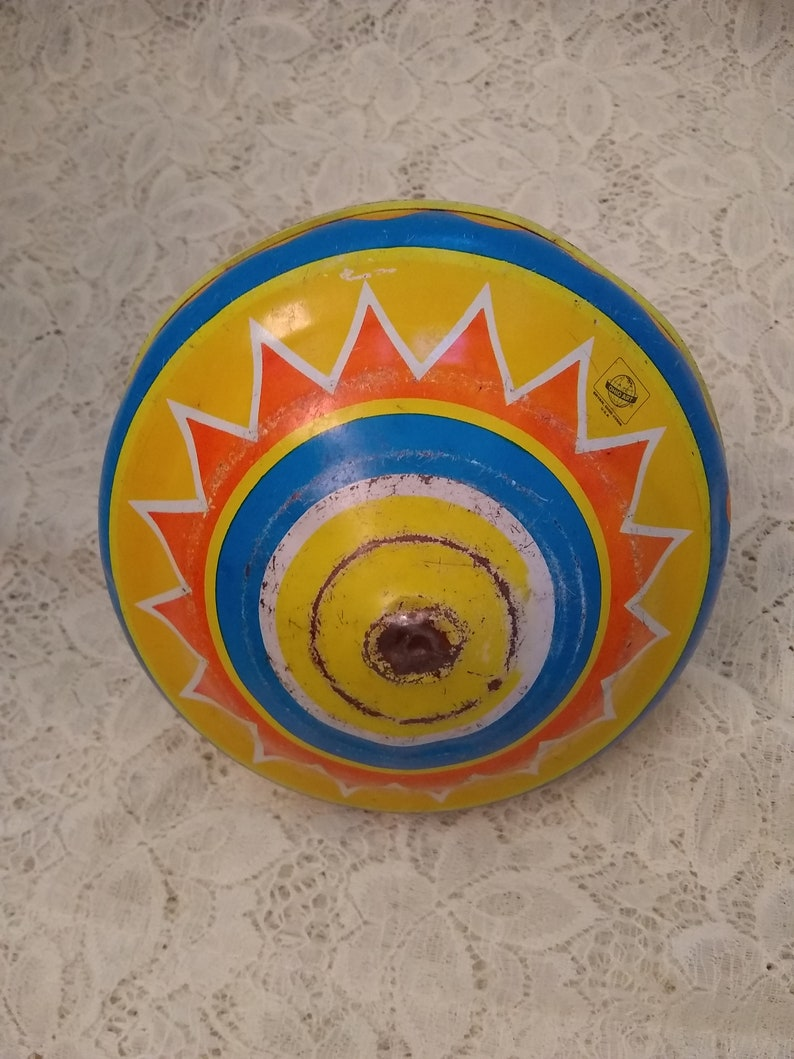 Vintage Metal Spinning Top Ohio Art Tin Train Top Made in the USA