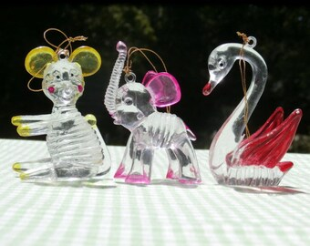 Swan Mouse and Elephant Vintage Lucite or Acrylic Plastic Ornaments Vintage Hong Kong Figurines Crystal Pets