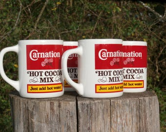 4 Carnation Hot Cocoa Mix Mugs, Great Vintage Housewarming Gift