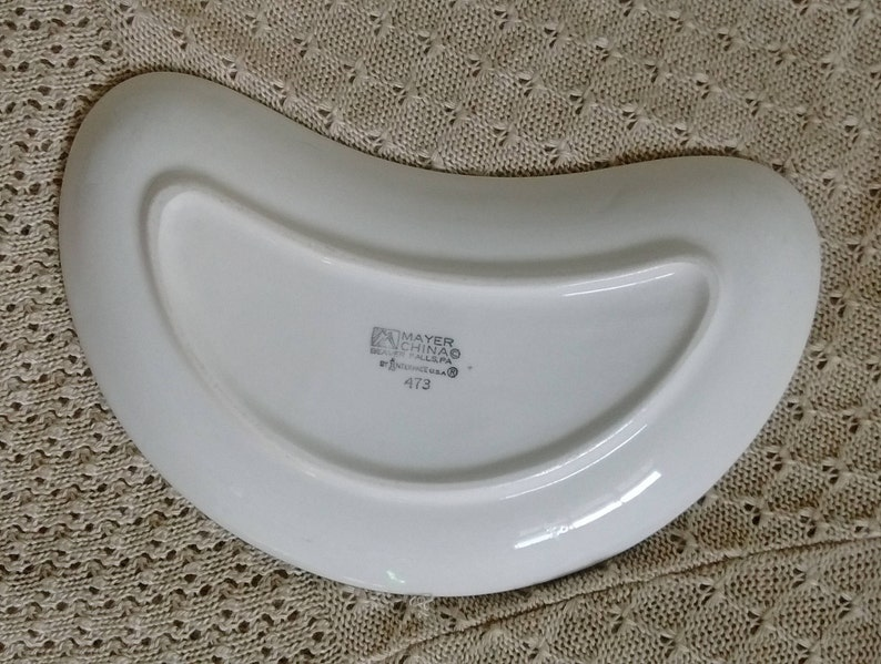Restaurant Ware Crescent Moon Dish Mayer Interpace 473 Aqua Blue Southwest Style Pattern Bone Dish