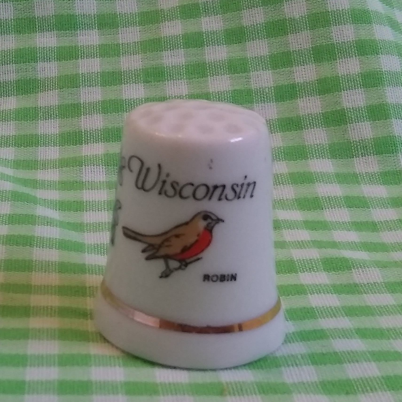 WISCONSIN Ceramic Thimble