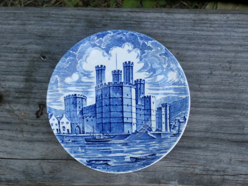 Royal Homes of Britain Pin Dish, Coaster, 4 inch plate, Enoch Wedgwood  Tunstall, Blue and White Transferware