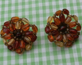 Autumn Flowers Vintage Flower Shaped Beaded Clip on Earrings Fall Color Beads Japan Made