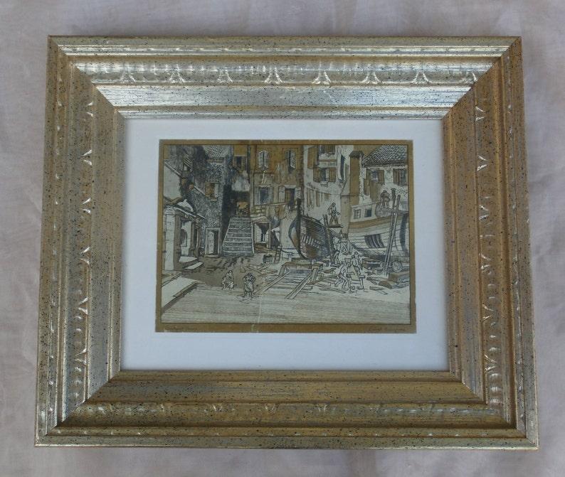 Courtyard Venice Lionel Barrymore Gold Foil Etch Style Framed Etsy