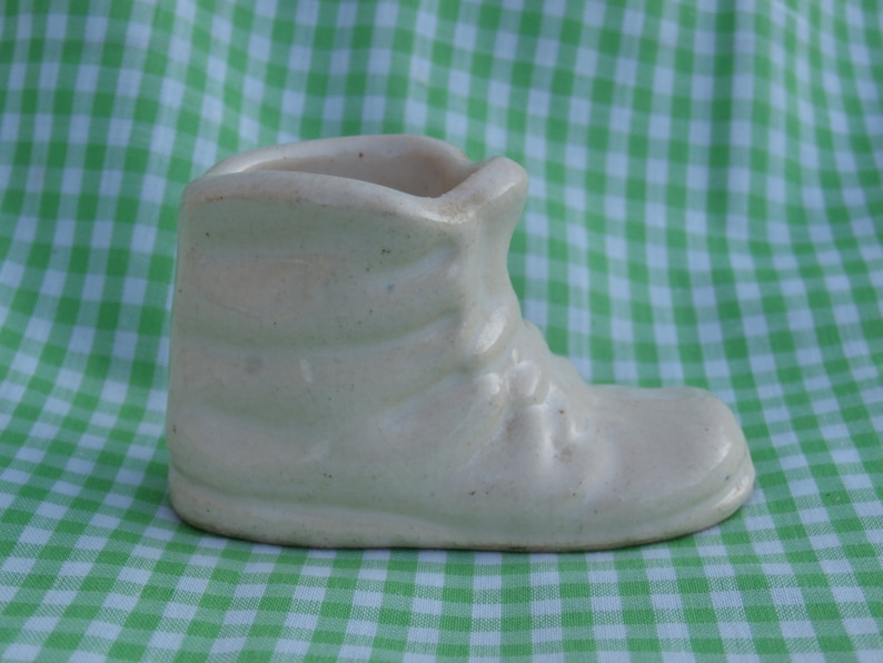 a327b806bf394 Miniature White Ceramic Baby Shoe Planter or Vase, Very Small Approximately  1 5/8 inches tall