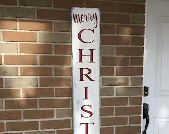 """Merry Christmas Sign - Wood Country Sign - Vertical Farmstyle Rustic Christmas Sign - Christmas Porch Patio Sign - Door Sign 8"""" x 48"""""""