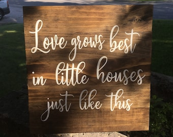 """Pallet sign Love Grows Best in Little Houses Just Like This   Farmhouse Sign Farmhouse Style Sign   Rustic Wood Stained Wood Sign   12""""x 13"""""""
