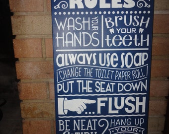 Bathroom sign for home Classy Navy Bathroom Sign home Decor Signbathroom Rules Hand Painted Sign Bathroom Decorlarge Sign115 Etsy Porch Sign life Is Better On The Porch Sign home Decor Etsy