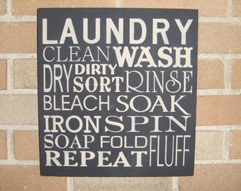 LAUNDRY, Laundry Room Sign,Laundry Room Decor, Primitive Wood Sign, Home Decor Sign, Housewares, Rustic Sign, Wall Decor, Typography
