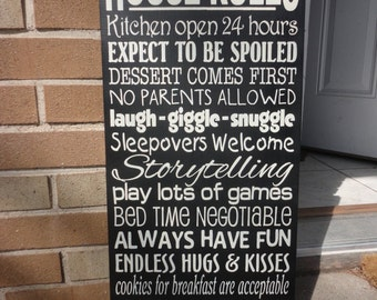"""Grandma's House Rules Sign, Personalize Sign, Wood Sign , Home Decor, Primitive Rustic Country Mother Grandma - Black 12"""" x 24"""""""