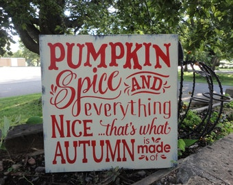 """FALL Sign/Fall Decor/Pumpkin Spice/Home Decor/Wall Decor/Primitive/Country Decor/Rustic/Painted Wood Sign/DAWNSPAINTING/12"""" X 12"""""""