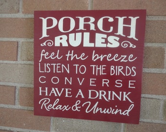 """Porch Rules Sign,Wood Sign, Home Decor Sign, Primitive Sign, Front Porch Sign, Back Porch Sign, Cabin Sign, Wedding Gift Rustic11.5"""" x 11.5"""""""